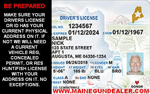 Real Maine Drivers License ID selling purchasing firearms