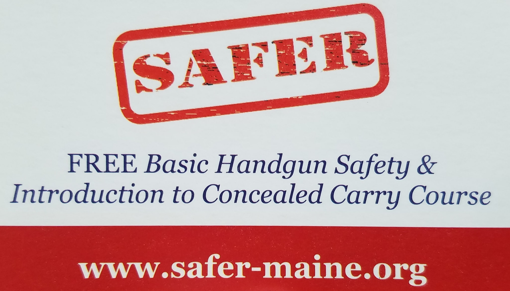 Safer Maine Org Free Basic Handgun Safety Course